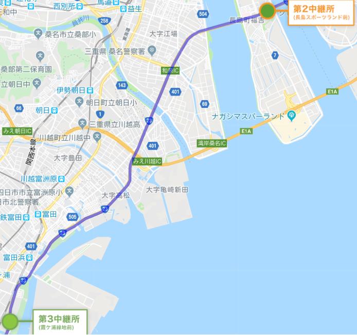 全日本大学駅伝地図3区