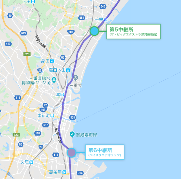 全日本大学駅伝地図6区